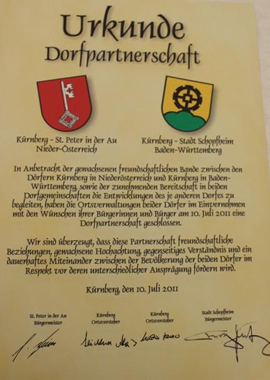 Dorfpatenschaft Urkunde